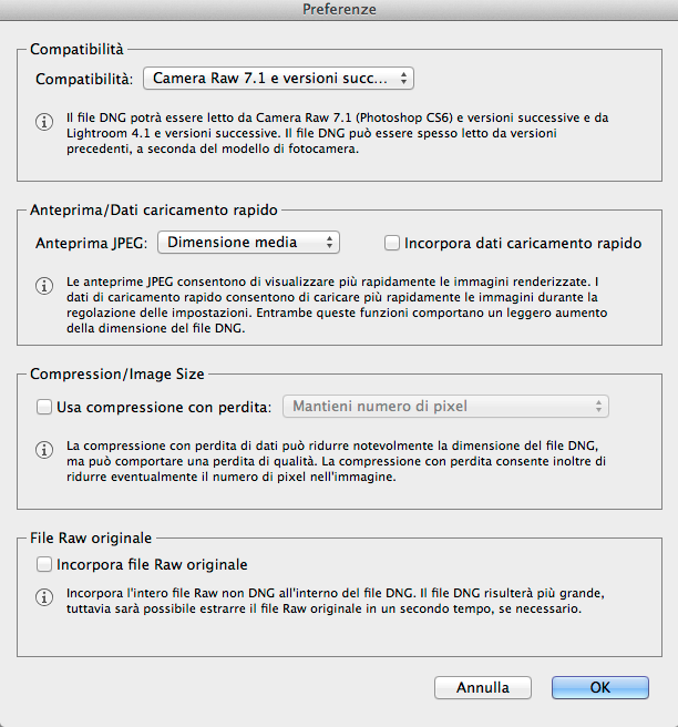 Adobe Digital Negative Converter – Preferenze